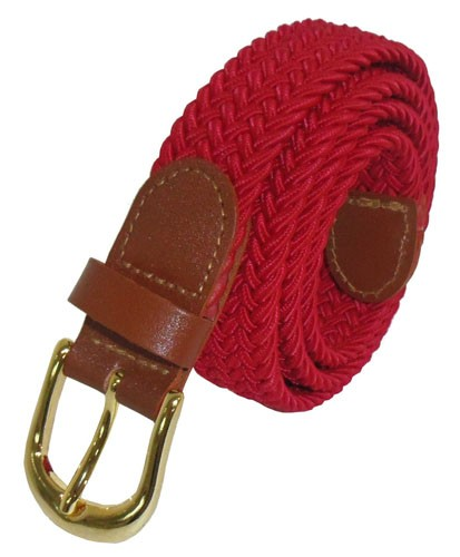 "LA-405 1"" THIN RED COLOR STRETCH BELT, MEDIUM (33/35)"