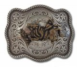 "BU-15 BRONZE BRONCO ON A RECTANGULAR BELT BUCKLE (3"" H X 3.75"" W)"