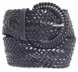 "WN-LS3002 BLACK 1 & 3/4"" WIDE LEATHER BRAIDED LADIES BELT, LARGE"