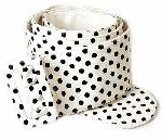 "WN-147 3"" WIDE STYLISH LEATHER BELT, WHITE POLKA DOT, MEDIUM/LARGE"