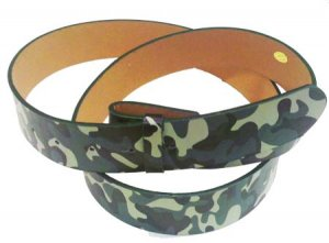WN-CA33 GREEN CAMOUFLAGE LEATHER BELT STRAPS W/SNAPS, 2XL/XXL
