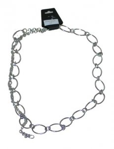 CH-23S SILVER OVALS CHAIN BELT MED-LG