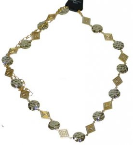 CH-25G GOLD HAMMERED DISCS AND DIAMONDS CHAIN BELT MED-LG